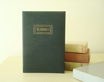 Vintage address book, classic Eaton Tel-Address mid-century navy blue address book in original box with area code map