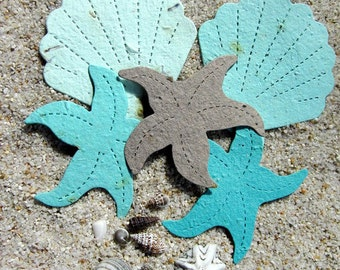 30 Seed Paper Starfish Beach Wedding Favors - Plantable Paper Shells - Destination Wedding Favor - Tropical Beach Wedding Decor Place Cards