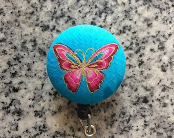 Butterfly retractable ID Badge holder, butterfly, bugs, Nurses badge, fabric badge reel, ID clip, badge clip