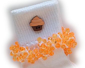 Kathy's Beaded Socks - Orange Cupcake socks, button socks, girls socks, orange socks, cupcake socks, brown socks, school socks