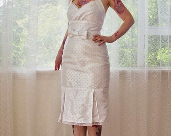 """1950's Pin up Wedding Dress """"Rosalia"""" with a Wiggle Skirt, Polka Dot Overlay, Kick Pleat and Bow Belt - Custom made to fit"""