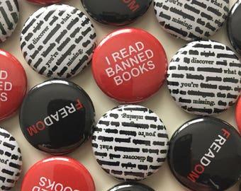 Bulk banned books 1-inch button set of 20-100 - custom bulk order