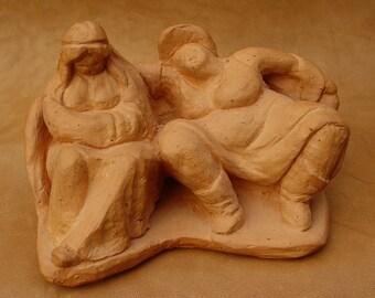 Big girls, ceramic sculpture, ceramic sculpture, monogrammed