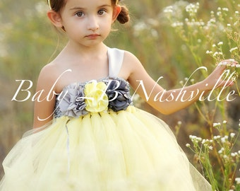 Vintage Dress Wedding Dress Flower Girl Dress Yellow Dress Tulle Dress Baby Dress Toddler Dress Tutu Dress Girls Dress