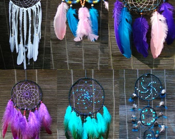 One Custom Made Dreamcatcher, All colors, multiple sizes, with gemstones of your choice