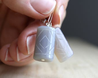 Gray Onyx Earrings . Stress Relief Gifts for Women . Carved Stone Earrings . Gray Stone Earrings Lever Back . Calming Stone Jewelry