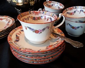 Antique Royal Grafton Cup and Saucer, Late 1800 early 1900s, Edwardian Period, 6 Sets Available