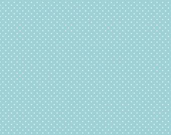 Aqua Polka Dot Fabric - c3670 Aqua Swiss Dot Fabric by Riley Blake Designs
