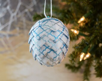 Sparkly Blue and White Christmas Ornament Ribbon Ball Pinecone Handmade Holiday Decoration Coffee Table Decor Wreath Swag Winter Wonderland