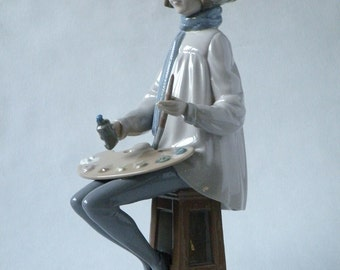 Lladro Nao, Porcelain Figurine Boy With Palette, #2000295 Retired