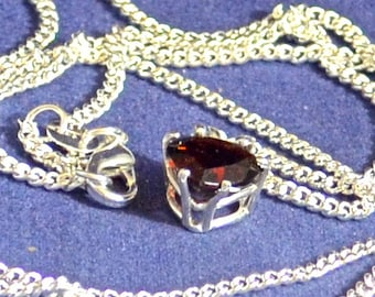 Red Garnet Pendant/Necklace, 9mm Heart, Natural, Set in Sterling Silver P621