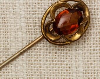 Amber Gem Stick Pin Gold Flower Oval Vintage Stickpin Brown Accessories 7R