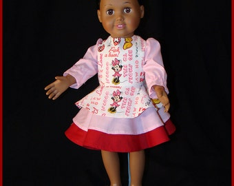 "Minnie Mouse Layered, Flirty, Long Sleeve, Pink & Burgundy Dress; for American Girl Style 18"" Dolls! School or Dress Up Doll Clothes"