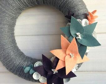 Yarn Wreath Felt Handmade Door Decoration - Winter Haze 12in