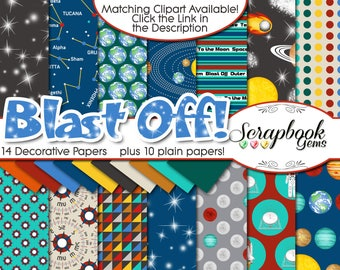 """BLAST OFF Digital Papers, 24 Pieces, 12"""" x 12"""", High Quality JPEGs, Instant Download solar system planets space telescope astronaut moon"""