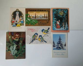 Lot of 6 vintage New Year's cards USSR, postcards new year, vintage postcards, New Year's decor, vintage card, christmass postcards vintage