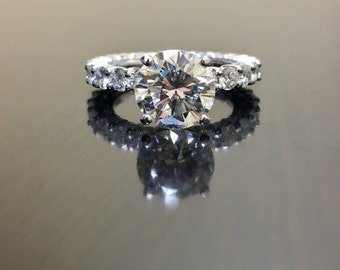 14K White Gold Eternity Diamond Engagement Ring - 14K Gold Diamond Wedding Ring - White Gold Diamond Eternity Ring - 2 Carat Diamond Ring