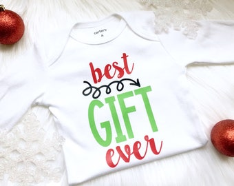 Baby Christmas outfit, best gift ever, pregnancy announcement, Christmas pregnancy announcement, my first Christmas, baby holiday outfit.