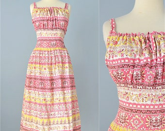 Vintage 1940s Sundress...ANN ALLYN Rayon Ethnic Print Sundress and Jacket