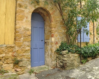 France Photography, Fine Art Print, Europe, Provence, Village, Window, Door, Travel Photo, Architecture, French Decor, Blue, Yellow