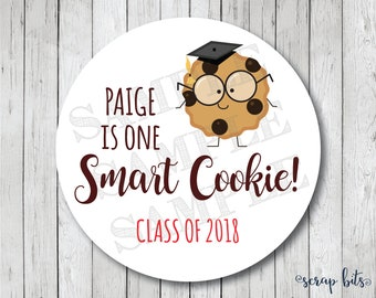Personalized One Smart Cookie Graduation Tags, One Smart Cookie Labels, Cookie Graduation Stickers