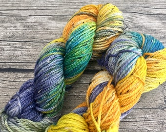Second Star To The Right - Hand Dyed Superwash Merino Tweed Yarn - Worsted / Aran Weight Yarn - Hand Dyed Yarn - Indie Dyed Yarn