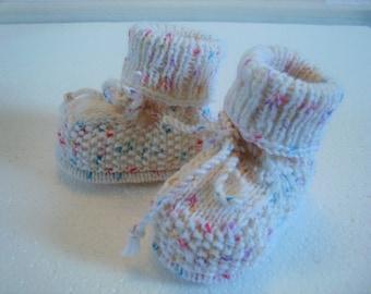 Babyschuhe 0-6 Monate weiß-Konfetti bunt Babygeschenk Geburt Schuhe Schluffen Taufe