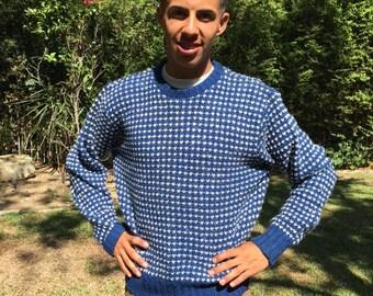 Woolrick men's sweater, blue, white, size medium,M