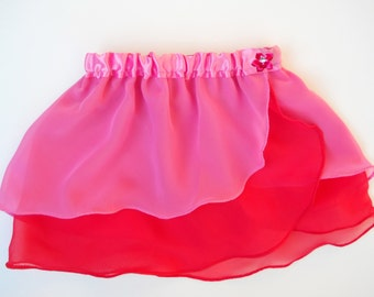 Girls Pink and Red Ballet Skirt - Dancewear -  Girls Ballet Skirt - Toddler Ballet Skirt - Faux Wrap Skirt - Tutu - Twirly Skirt