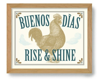 Mexican Art for Kitchen Decor Rise and Shine Cooking Quote Rooster Art Farmhouse Chic Country Decor DexMex Chicken Artwork Good Morning