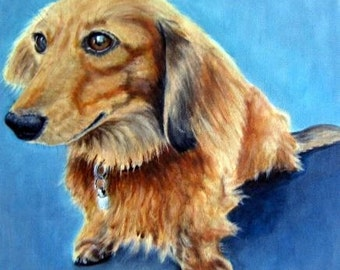 Original custom dog portrait painting from your own photo, oil painting on canvas, pet portrait or any animal, example Dachshund
