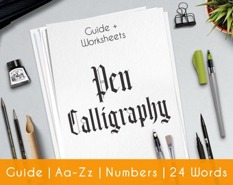 Gothic Calligraphy   33 Pratice Sheets  Printable Worksheets   guide for beginner   Learn Calligraphy   Brush Hand Lettering Workbook  P4