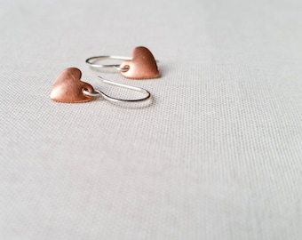 Copper Heart Drops - Mixed Metal Heart Earrings Simple Domed Copper Heart and Sterling Silver Earrings Modern Valentine's Day Gift for Her