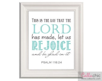 This Is The Day That The Lord Has Made Wall Art PRINTABLE - Christian / Catholic / Religious Prints (INSTANT DOWNLOAD) diy - Teal Turquoise