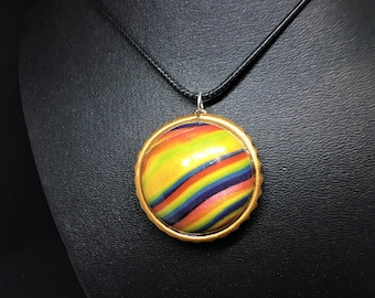 Ribbon Candy Colorful Polymer Clay Necklace Charm, Gold/Copper Bezel, Circular Handmade Charm