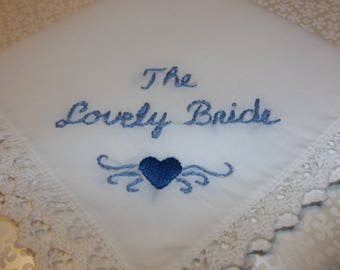 Bride, wedding handkerchief, satin stitched heart, hand embroidered, gift for bride, bridal  gift, wed gift, something blue, blue for bride
