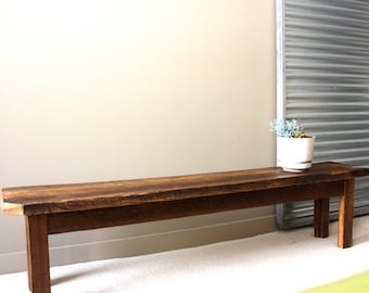 Farmhouse Dining Bench Made From Reclaimed Wood / Textured Finish
