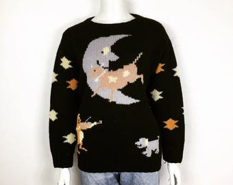 Vtg 70s 80s knit avant garde novelty cow jumped over the moon sweater