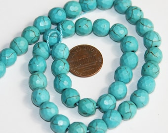15 inch of Light blue Turquoise faceted round beads , turquoise round beads, loose turquoise beads, manmade turqoise beads 10mm