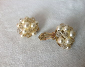 Vintage Lisner Faux Pearl and Glass Beads Clip On Earrings, Signed