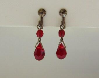 Red drop clip on earrings
