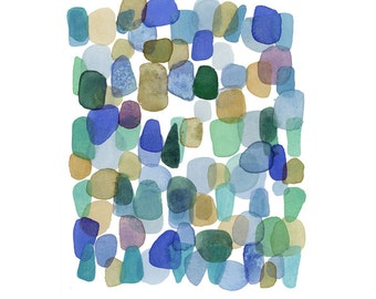 Abstract watercolor painting print abstract painting blue green sea glass beach finds