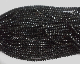 Mourning Glass- Vintage Black Glass Beads- 6 strands- Czech- Bohemian- Jet Black- Faceted- 300 pieces