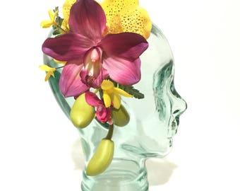 Pink cymbidium and yellow vanda orchid vivid tropical tiki oasis hawaiian hair flower clip