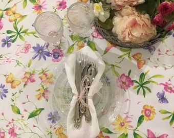 Stained tablecloth flowers and butterflies