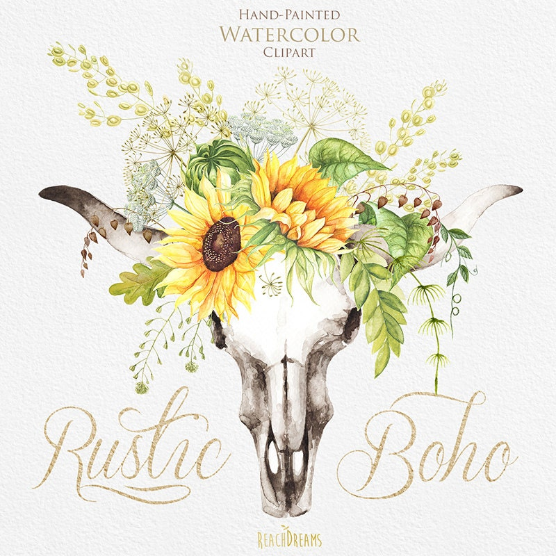 Watercolor Boho Bull Skull With Sunflower Bouquet Wild