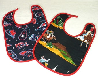 Baby Bibs, 2,  western, cowboy, bandana, large, cotton print, terry cloth