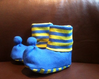 Blue and green striped Om Baby booties
