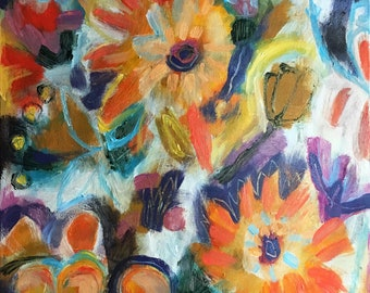 Original Acrylic painting/Flowers and Oranges/24x36/bright colorful/home decor/stretched canvas/ready to hang original art