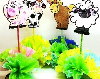 Farm Barnyard animals Centerpiece, Little farm centerpiece, Farm animals birthday party, Farm house party, Tractor party decor, SET of 4
